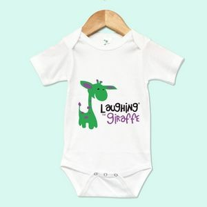 The Laughing Giraffe® Short Sleeve 65% Polyester/35% Cotton baby Bodysuit - White 18-24M