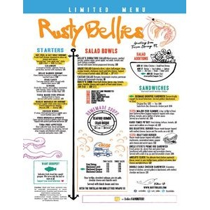 "SINGLE USE MENUS on lite weight 80lg gloss paper 11"" x 8.5"", Full Color"