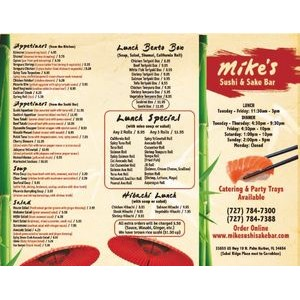 "SINGLE USE MENUS on lite weight 80lg gloss paper 14"" x 8.5"", Full Color"